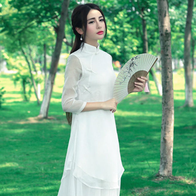 2017 Summer New Product Most Popular Elegant Women Improved Cheongsam Tops Temperament Girl Chinese Style Button Silk Long Shirt