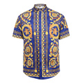 2017 New Brand Men's Casual Shirt gold chain print High-end fashion Luxury Short sleeve Shirts Slim Fit Shirt For Men banquet