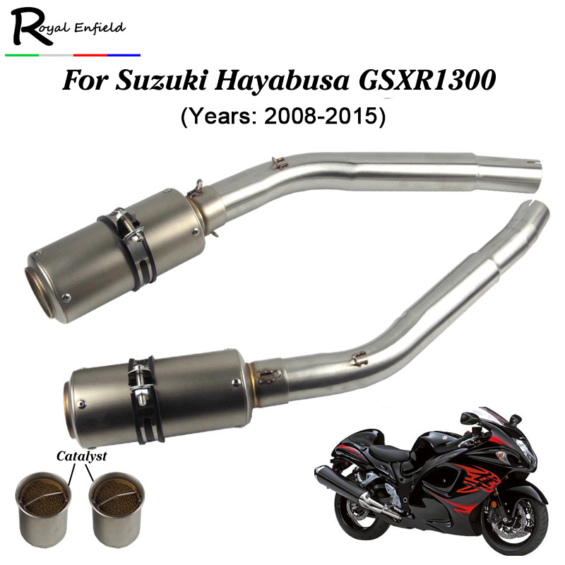 Hayabusa GSX1300R Motorcycle Exhaust Modified SC MufflerMiddle Connector Link Pipe Slip On For Suzuki GSXR1300 2008-2015 motorcycle engine stator crankcase cover for suzuki hayabusa gsx1300r gsxr1300 1999 2015 gsx1300bk b king 2008 2013