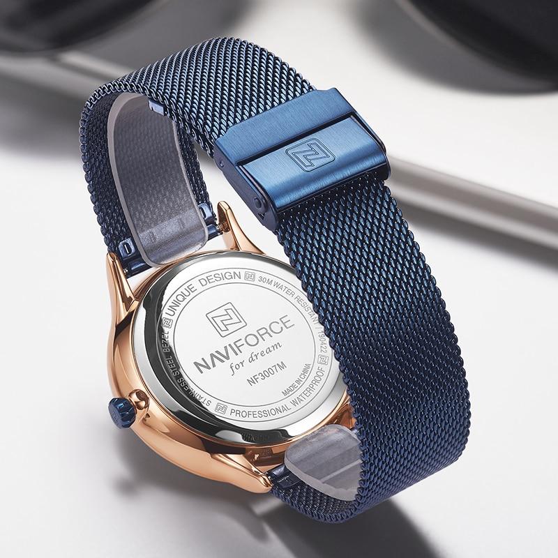 Image 4 - Naviforce relógios masculinos marca de luxo da forma dos homens  quartzo relógio de pulso aço malha cinta esporte masculino relogio  masculino 2019Relógios de quartzo