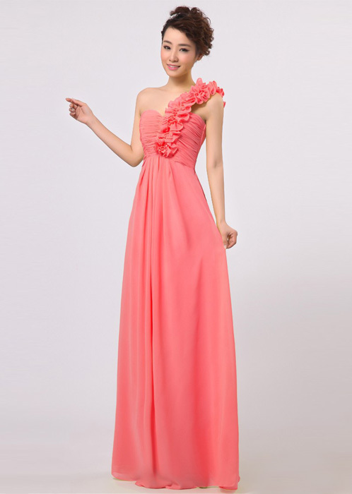 2014 fashion empire ruffles one shoulder coral colored for Colored wedding dresses plus size