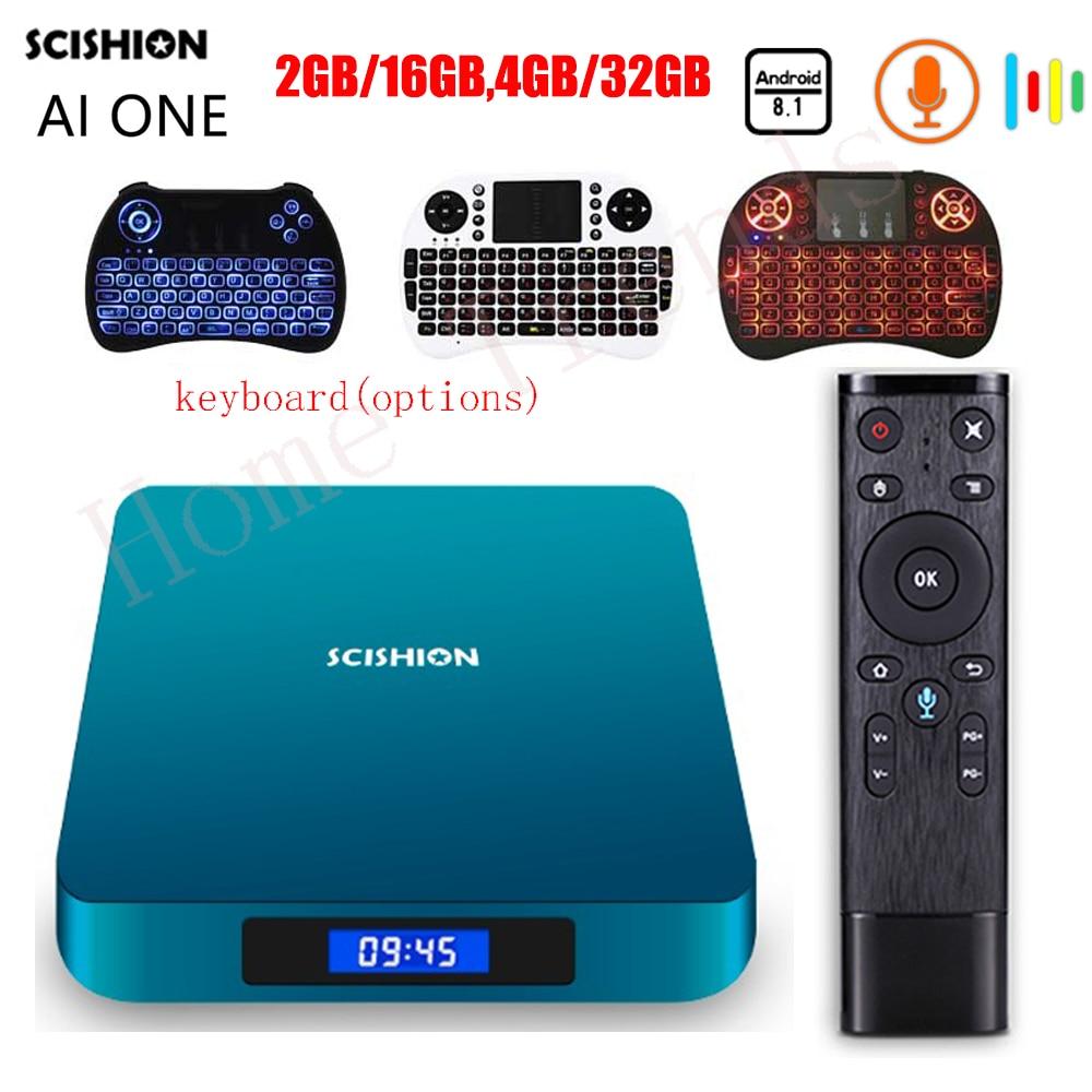SCISHION AI UN Android 8.1 Smart TV Box avec Commande Vocale Rockchip 3328 2g 16g 4 gb 32 gb WiFi Set Top Box Bluetooth Set-top Box