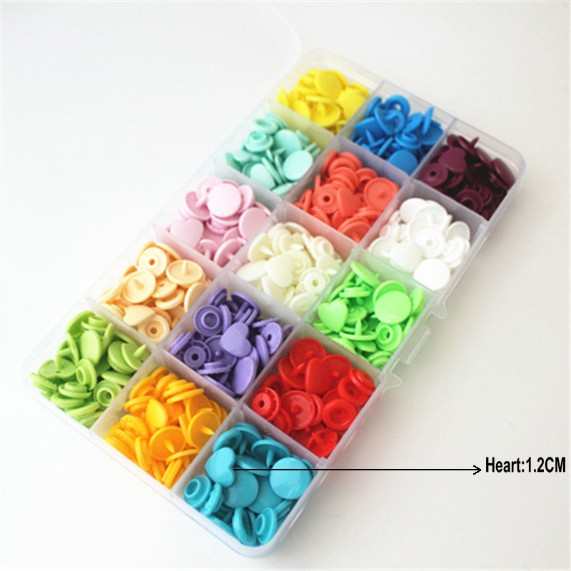 MIX KAM 15 colors heart-shaped resin snap buttons T5 caps 12 mm 150 sets plastic box packing separately