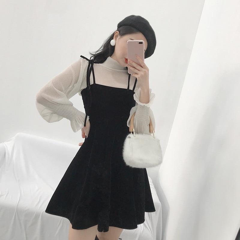 Vintage Audrey Hepburn Velour Dress 2018 Womens Off Shoulder Black Mini Dresses Japanese Harajuku Sexy Strap Mesh Party Dress