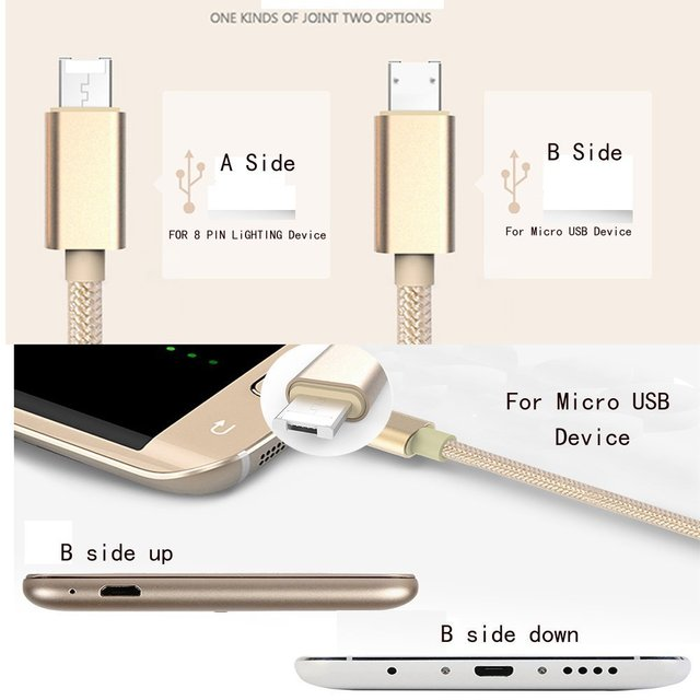 buy online 9425b b4b39 US $3.99  100 cm Micro USB Cable for Iphone 8 pin Fast charging charge  Nilon cord Cable for Both Iphone & Android Line Cable for Iphone 5s-in  Mobile ...