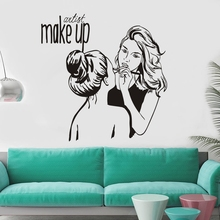 Vinyl Wall Decal Make Up Artist Wall Sticker Cosmetic Beauty Salon Decor Wall Mural Removable Room Decoratio Art Poster W114