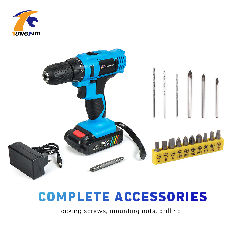 Tungfull Cordless Drill Lithium Battery Electric Screwdriver Rechargeable Parafusadeira Furadeira 21V Drilling Machine