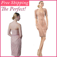 2014 Free Shipping Formal Sleeves Champagne Knee Length Lace Mother of the Bride Dresses With Jacket цена