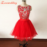 2015 Hot Sale Short Homecoming Dresses Red For Girls Tulle With Beads Open Back With Bow