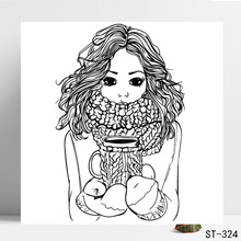 AZSG Mature Girls In Winter Clear Stamps/Seals For DIY Scrapbooking/Card Making/Album Decorative Silicone Stamp Craft