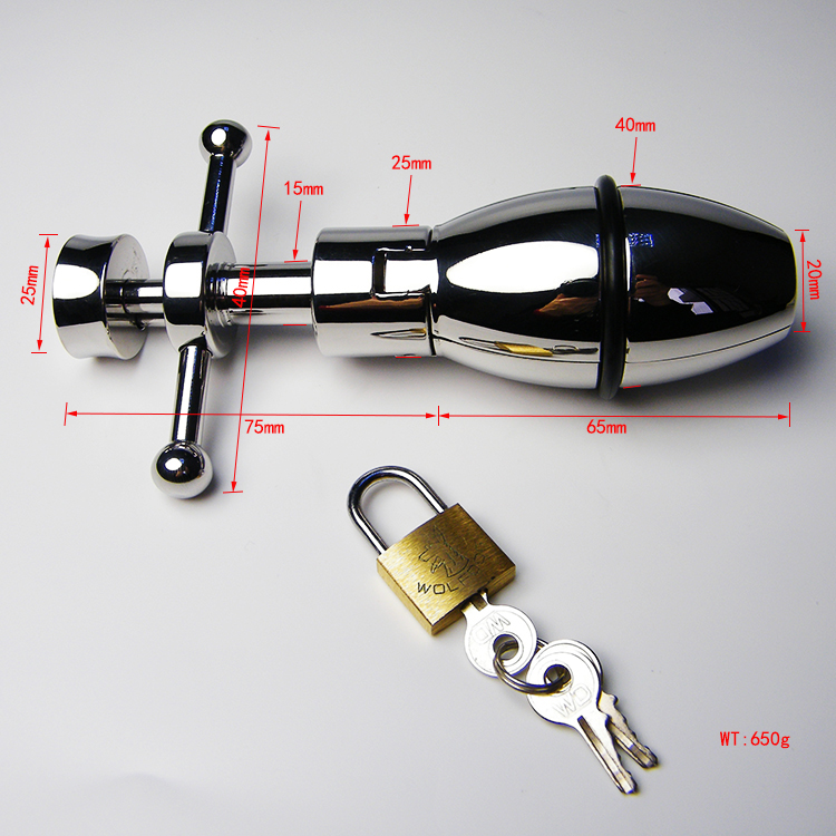 SODANDY Adjustable Anal Plug Stainless Steel Butt Plug Lock Anal Dilator Sex Toys Metal Male Chastity Device Anus Expansion