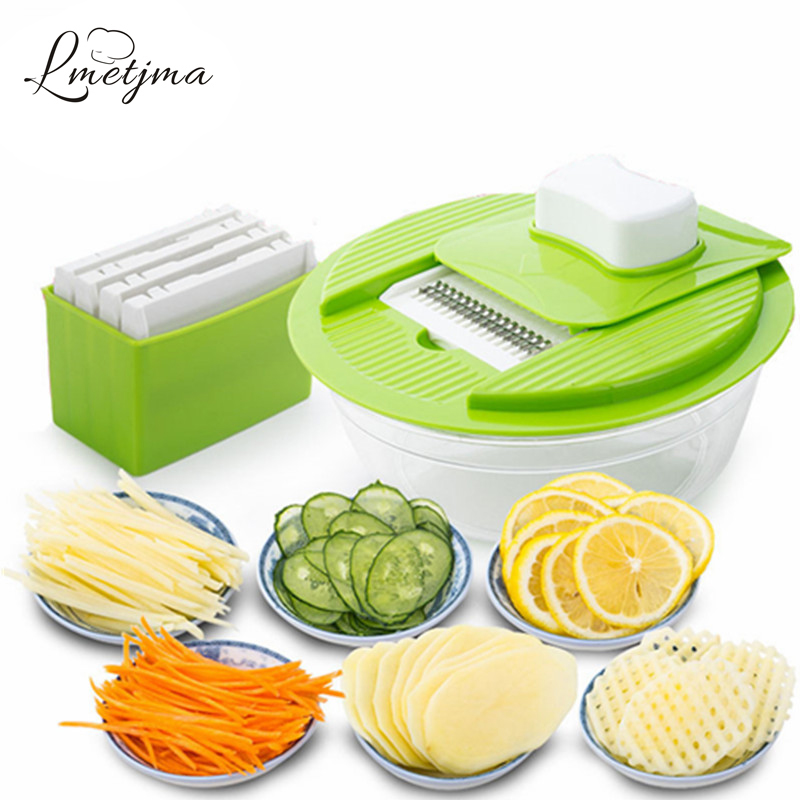 LMETJMA Mandoline Vegetable Slicer Dicer Fruit Cutter Slicer con 4 cuchillas intercambiables de acero inoxidable Slicer de patata herramienta