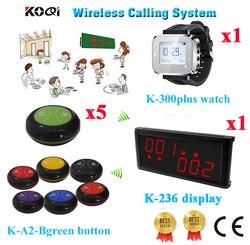 Połączenia bezprzewodowego kelner system pagera pokaż 2 grup numer w tym samym czasie wyświetlacz + zegarek Pager + dzwonek recepcyjny (1 wyświetlacz + 1 zegarek + 5 przycisk połączenia) w Pagery od Komputer i biuro na
