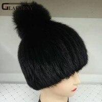 Glaforny 2017 רוסית כובע מינק פרווה אמיתי עבור נשים החורף סרוגים מינק כובע פרווה כובעי beanie שווי פום פום פרוות שועל עבור בנות