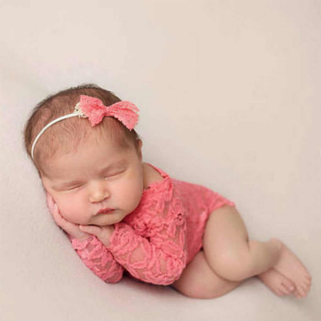 Baby newborn photography props cloth lace long pant bowknot headbands costume infant baby outfits newborn photo