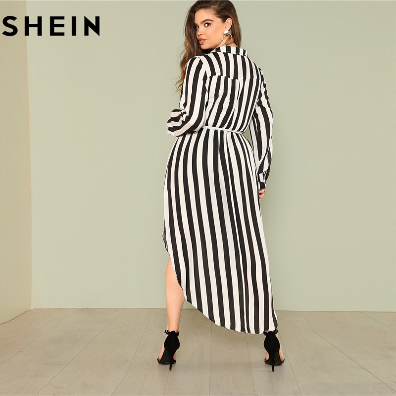 db7e9bcee6 SHEIN Black And White Stripe V Neck Belted Plus Size Maxi Dress Spring Fall  Office Lady High Waist Split Side Striped Dresses-in Dresses from Women's  ...