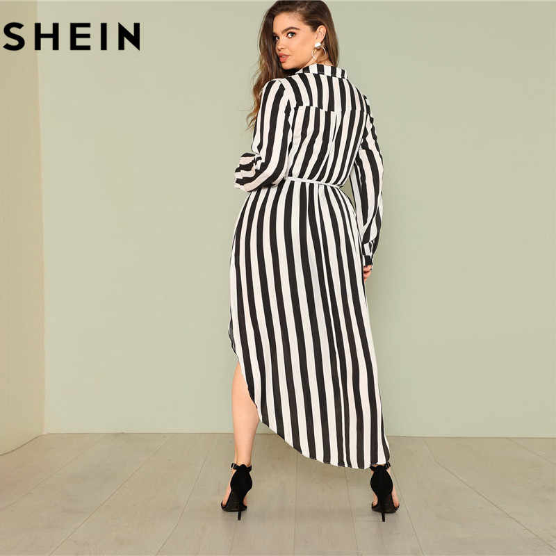9f099ea46c ... SHEIN Black And White Stripe V Neck Belted Plus Size Maxi Dress Spring  Fall Office Lady ...