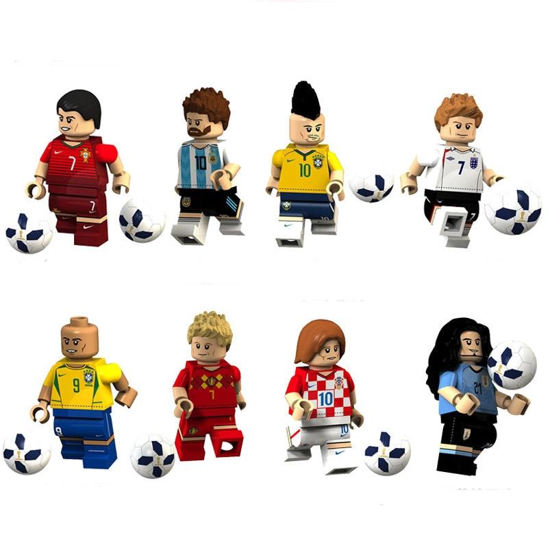 8pcs/set Football Player Bricks Action Figures Toys Argentina Spain Brazil Team Building Blocks Model Kids Toys Collection gift