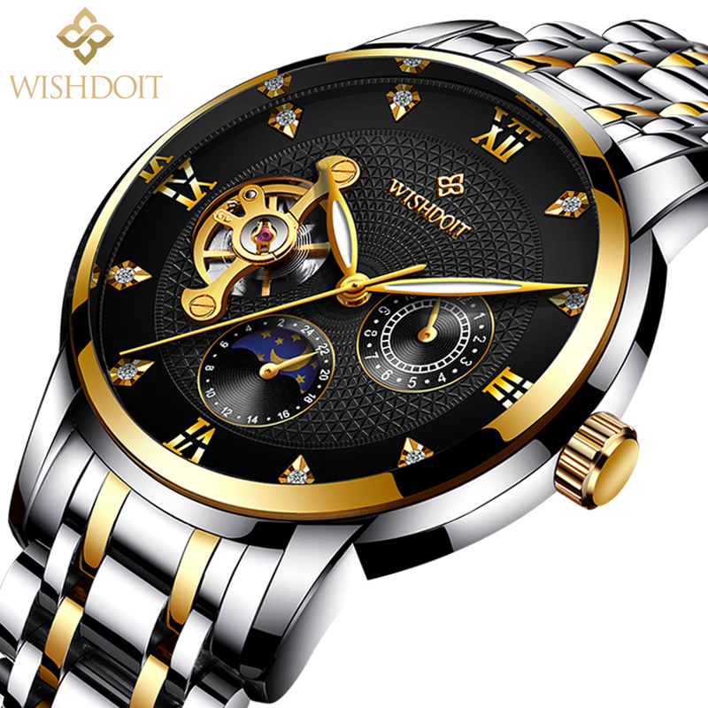 reloj hombre Men Watchs Mechanical Watch Business Sport Fashion Casual Military Waterproof Male Clock Top Luxury Brand WISHDOIT mens watch top luxury brand fashion hollow clock male casual sport wristwatch men pirate skull style quartz watch reloj homber