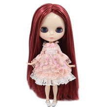 Factory Neo Blythe Doll Red Wine Orange Hair Jointed Body 30cm