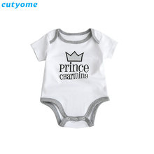 Cutyome Summer 2017 Baby Boys Rompers Prince Charming Letter Printed Infant Jumpsuits Clothes Cotton Boy Overalls 4-18M