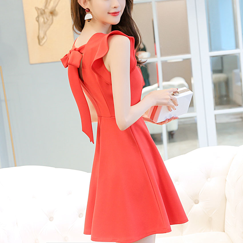 Summer Sleeveless Big Bow Women Dress 2018 Ruffles O-neck Mini Dress  Vintage Elegant Fashion fcd41d463c60