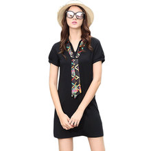 2017 Summer New Women Polo Collar Short Sleeve Black Tshirt Dress Ladies Casual Wear Office Mini Dresses Vestidos Mujer