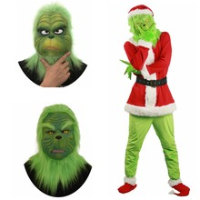 Santa Grinch Mask Cosplay Costume How the Stole Christmas Suit Outfits Adult