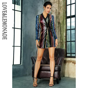 79f0da7122965a Love Lemonade V-Neck Colorful Striped Sequin Party Dress