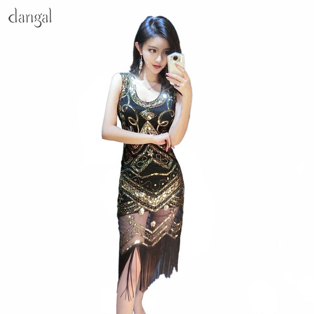 Us 25 32 39 Off Dangal Sequin Tel Dress Women Clothing 2018 Summer Party Short Corsetted Slinky Gloden Y Embroidery In