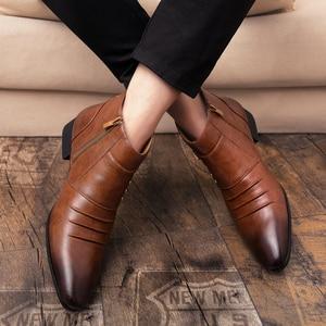 Image 5 - Misalwa קרסול מחודד למעלה Zip גברים צ לסי מגפי אביב סתיו מוצק בציר עור Chaussure Homme זכר 2019 שמלת מגפיים