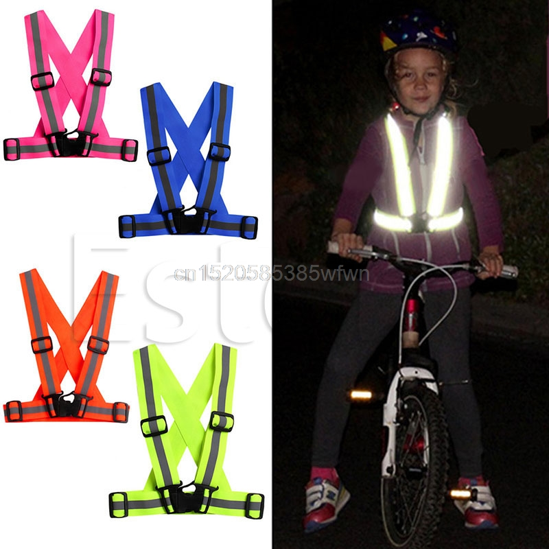 Sport Kids Adjustable Safety Visibility Reflective Stripes Vest Night Running Orange/Hot Pink/Green/Royal Blue Drop Ship