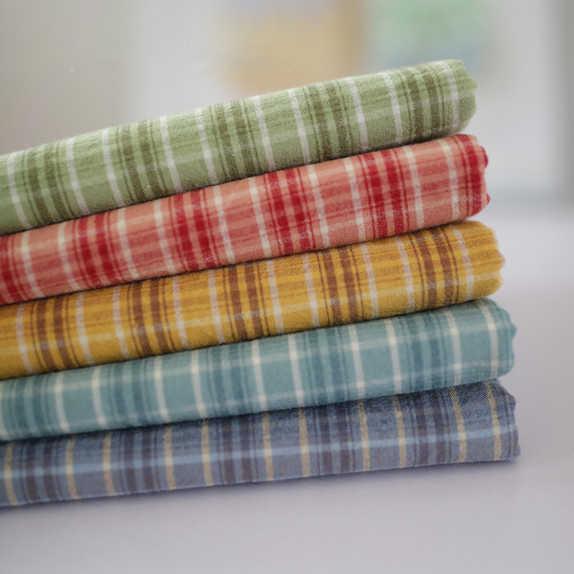 50*70cm Hoge kwaliteit alle katoen flanellen doek schuren zachte stof en garen geverfd Plaid Shirt hand gemaakte doek DIY 240 g/ml D20