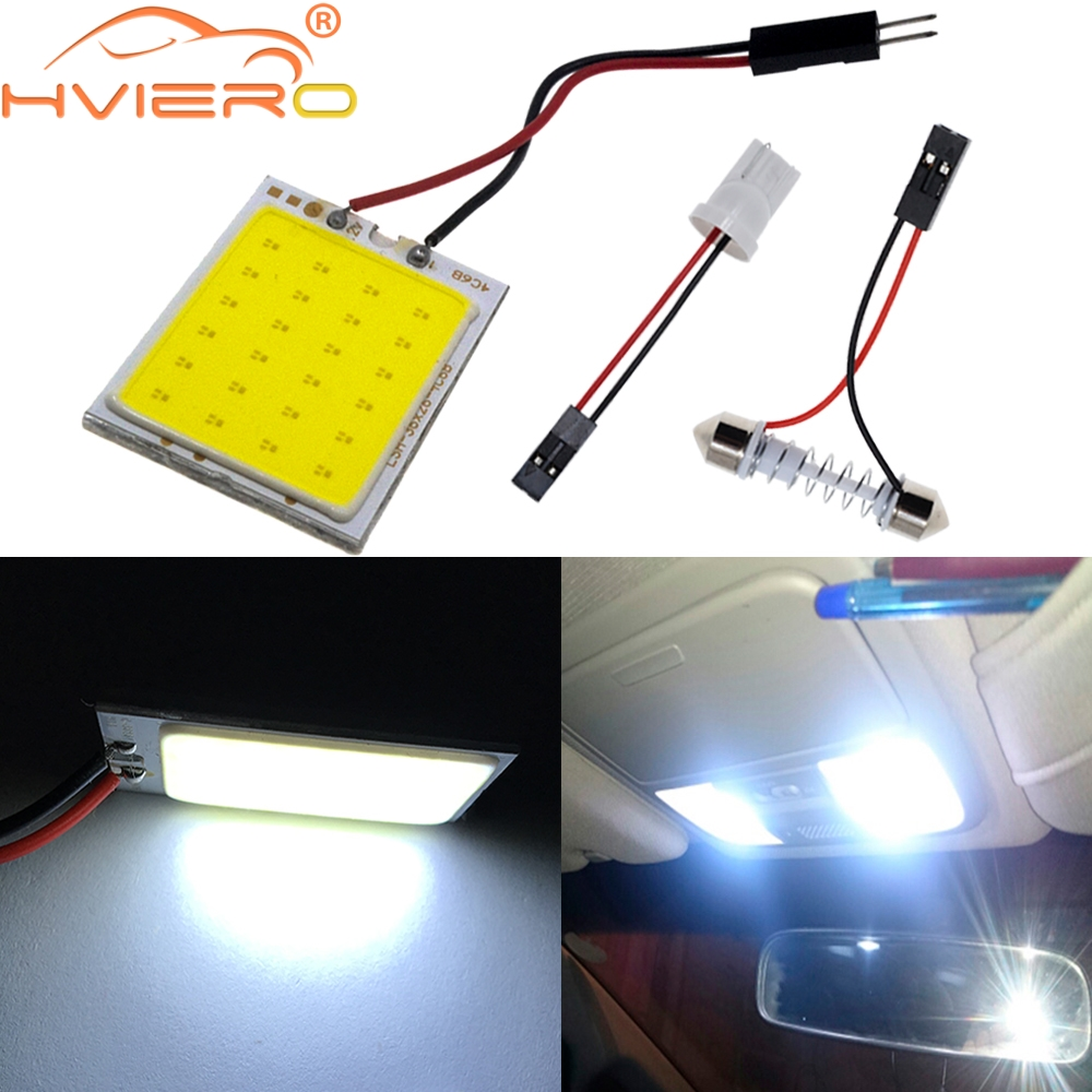 2X T10 COB 24 SMD 36SMD 48Led Panel White Red Car Led Auto Interior Parking Light Reading Map Lamp Bulb Dome Festoon BA9S DC 12V 100x car dome light 18 smd 5630 18smd 5730 led car interior roof panel reading auto with t10 ba9s festoon 2 adapters white 12v