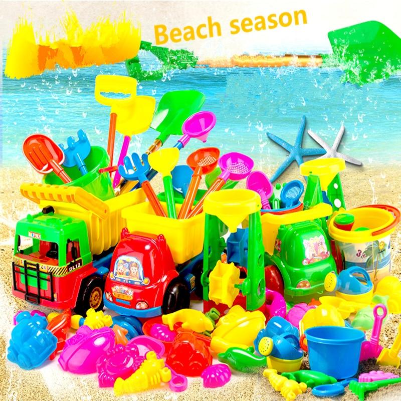ФОТО Best seller high quality 23Pcs Sand Sandbeach Kids Beach Toys Castle Bucket Spade Shovel Rake Water Tools Swimming  toys