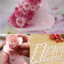Прочный 3D торт простой Роза лепестковая форма-резак цветок плесень сахарное ремесло украшения инструменты помадка торт выпечки чайник 3 шт. набор форм