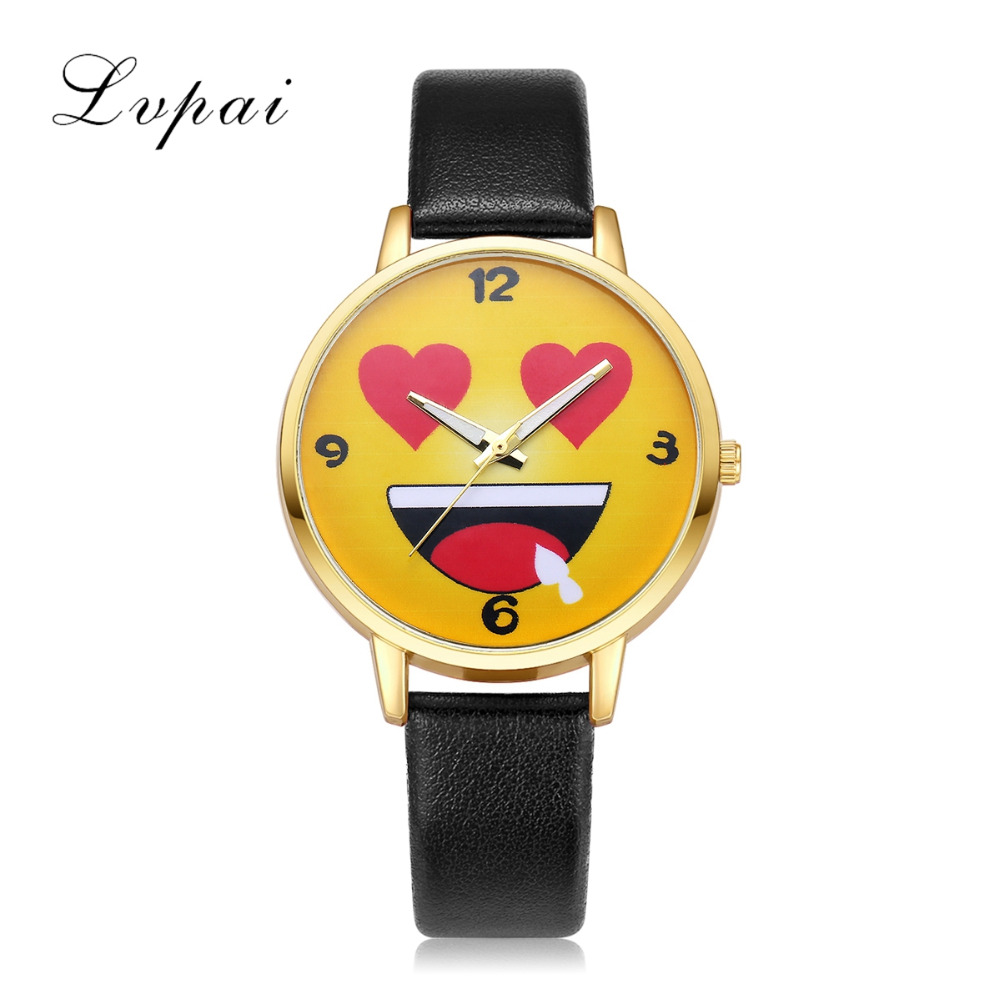 2017 LVPAI Brand Women Bracelet Watch Cartoon Smiling Face Expression Quartz Fashion Women Dress Watches Female Relogio Clock