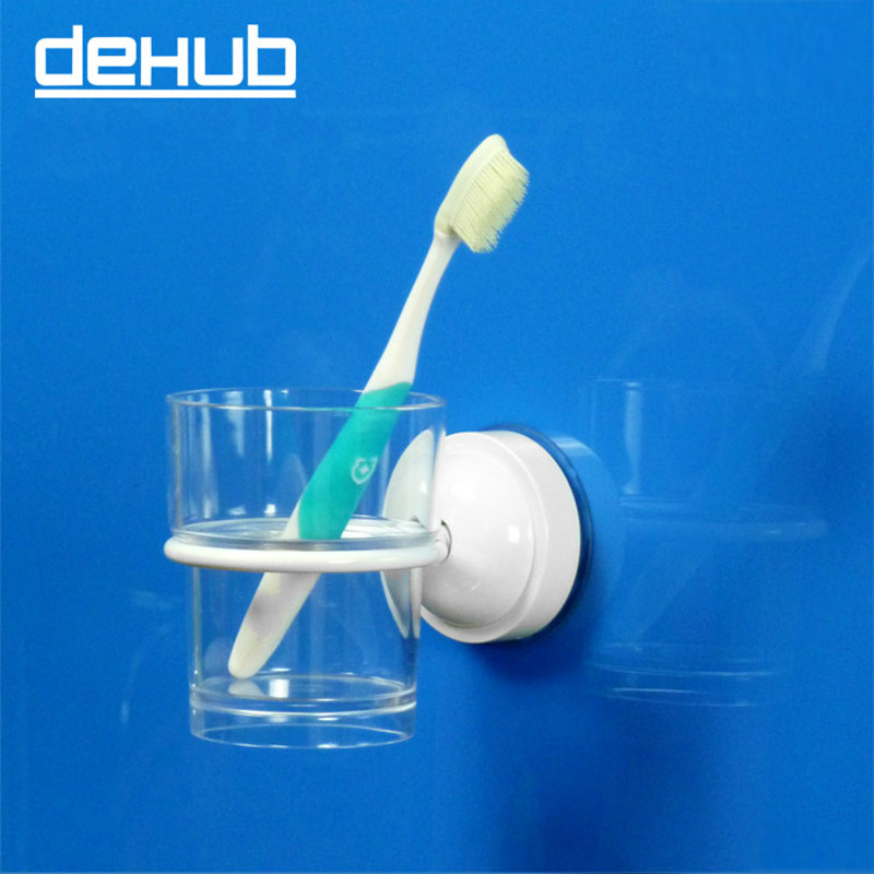 Dehub Super Suction Cup Portable CUp Holder Wall Mounted Bathroom Cup Holder Toothbrush Holder Steel For Bathroom Accesoories