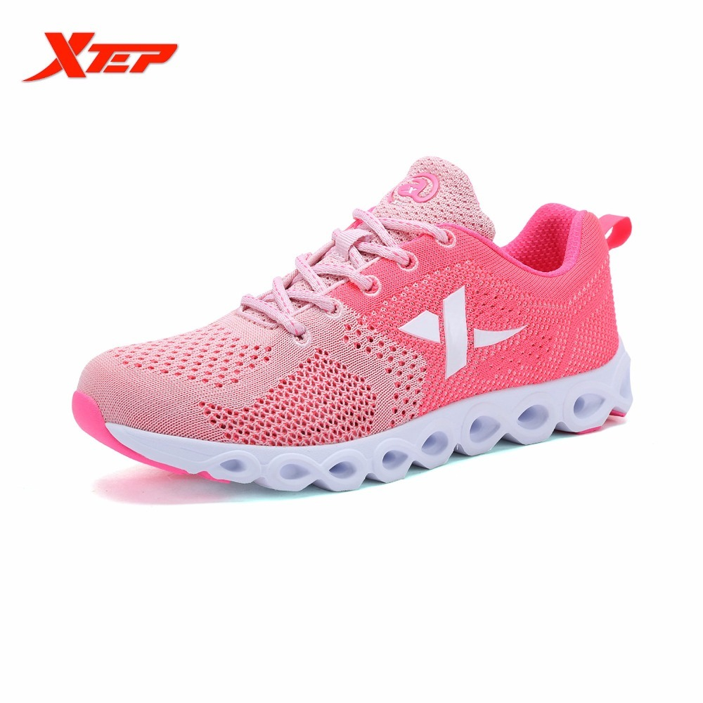 XTEP Brand Breathable Light Running for Women Lace Up Air Mesh Outdoor Sports Shoes Athletic Sneakers do dower men running shoes lace up sports shoes lovers yeezys air outdoor breathable 350 boost sport sneakers women hot sale