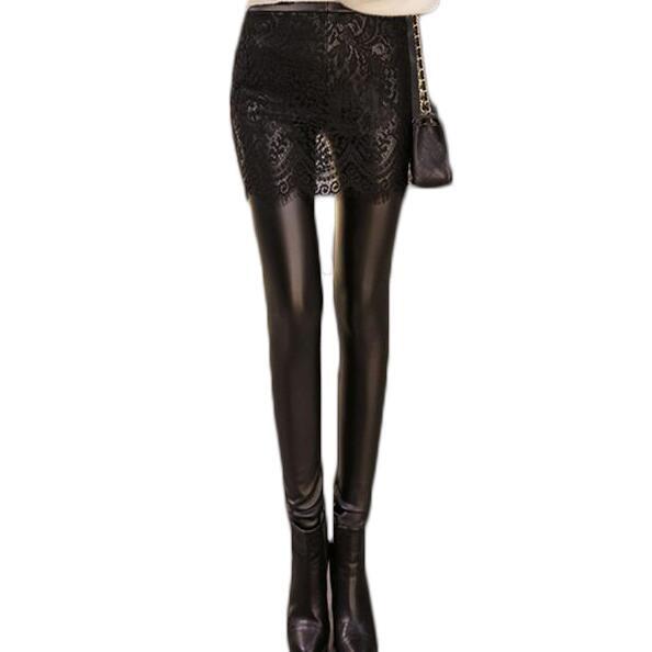 2016 Silm Leather Leggings women Punk Rock Lace Legins Black Plus Size High Waist  Leggings ZMF789563