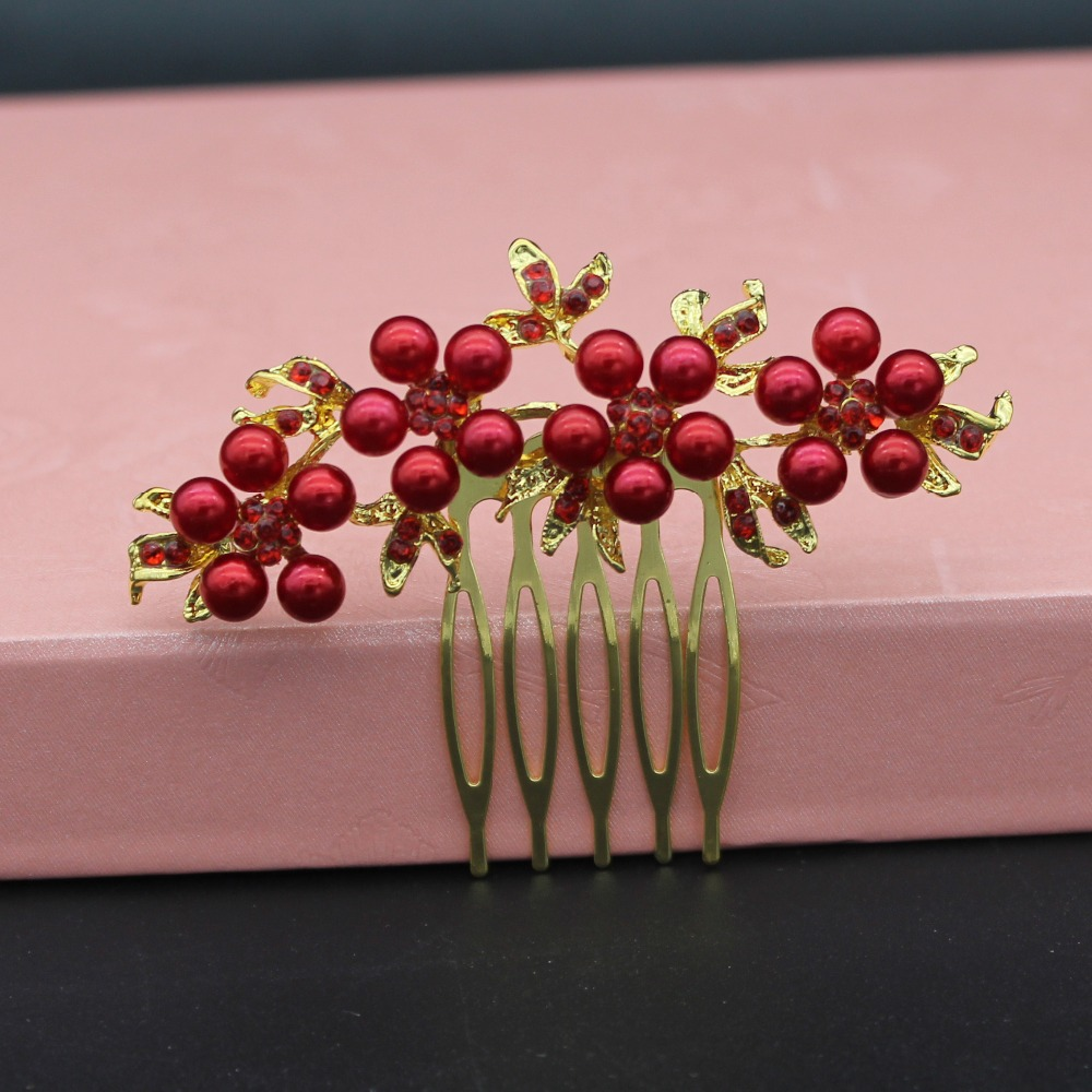 2pcs/Lot Top Red Pearl Flower Gold And Silver Hair Pins Wedding Bridal Hair Jewelry Accessories Bride Hair Combs Headpieces
