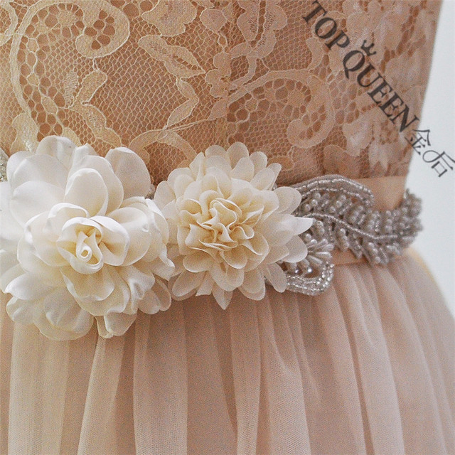 TOPQUEEN women's S251 Beautiful Flowers Wedding evening dress sash Belts Bridal bride Belt Sashes for the party