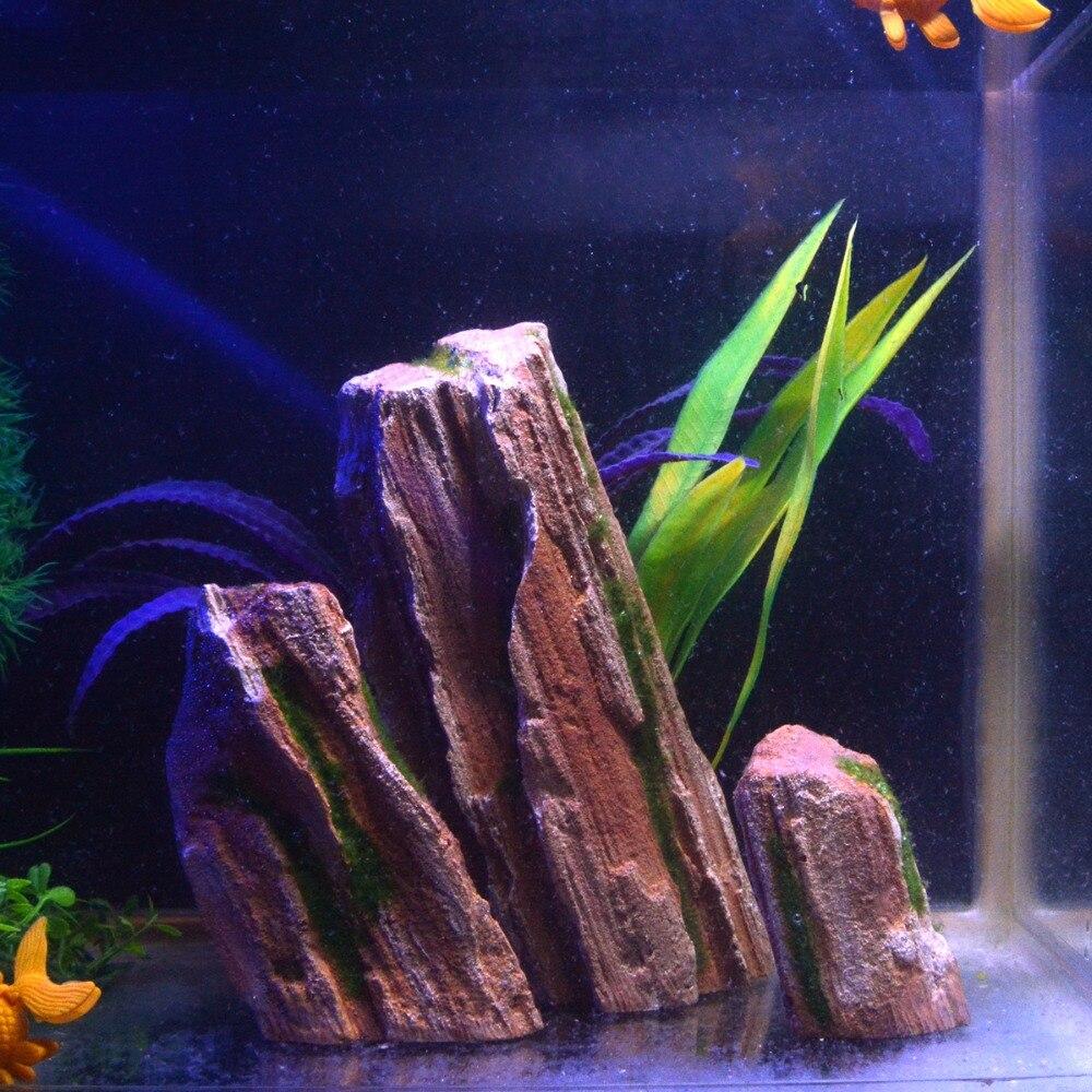3 pièces résine roche Aquarium vue de montagne roche Simulation décorative Rockery Aquarium décoration pour Aquarium ornements accessoire