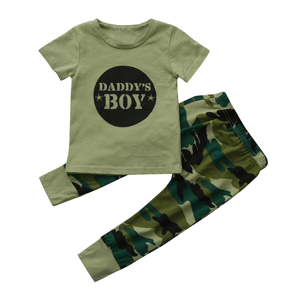 SZYADEOU Summer Sport Suits 2Pcs Newborn Toddler Baby Boys Letter Tops Camouflage Pants Outfits Set Clothes Baby Jongens L4