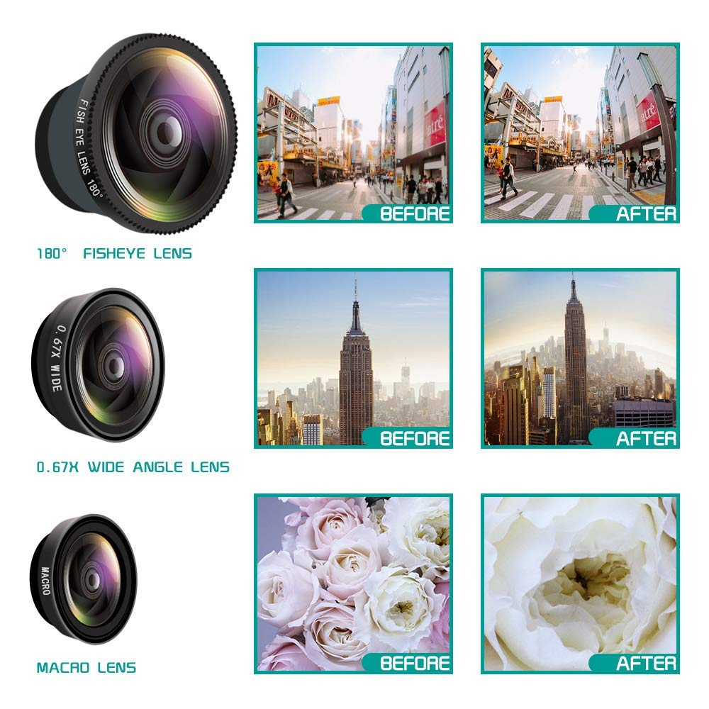 3 in1 Fisheye Phone Camera Lenses For iPhone Samsung Xiaomi lens On Phone 8