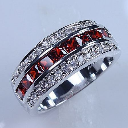 2016 Victoria Wieck Jewellery Men s gold filled Red Garnet Diamonique Wedding band ring free shipping