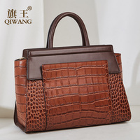 Luxury Brown Cow Leather Hand Bags Women Tote Qiwang Brand Real Crocodile Leather Handbags for Women Fashion Purse Shoulder Bag