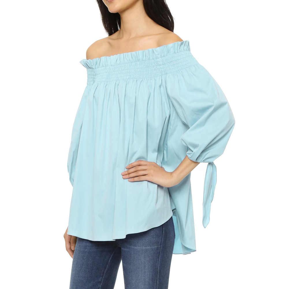 5XL בתוספת גודל צמרות נשים חולצה מכתף סלאש צוואר 3/4 ארוך שרוול סדיר אלגנטי גבירותיי חולצות Loose טוניקת שחור לבן