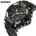 Doobo marca men sports relógios dual display analógico digital led relógio eletrônico relógios de quartzo 50 m à prova d' água de natação
