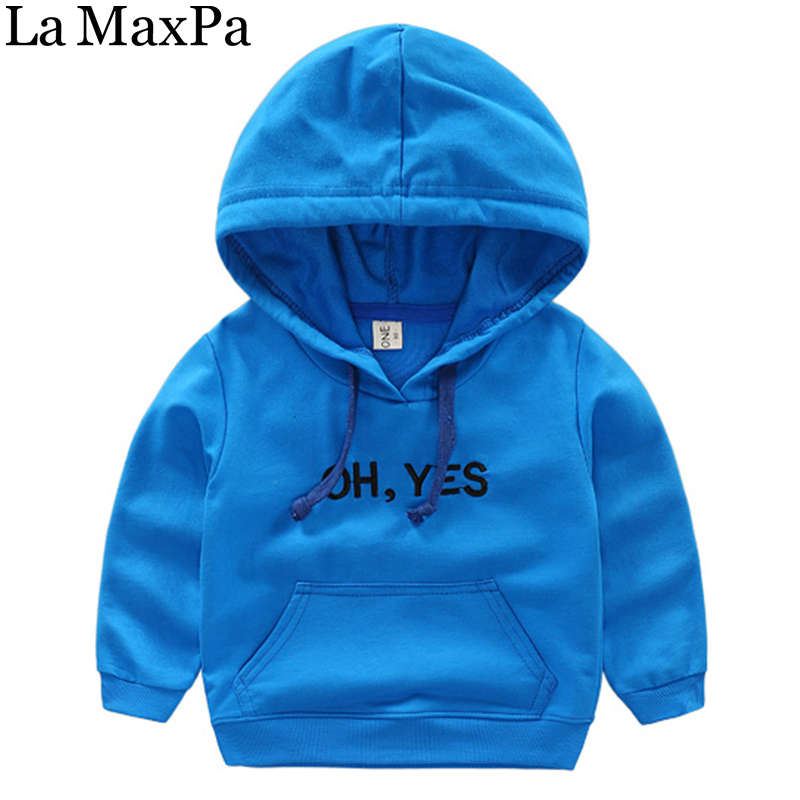 La MaxPa Baby Boys Embroidery Letter Yes Hooded Sweatshirt 2018 Spring New Children Clothing Outerwear Pullover Boys Hoodies